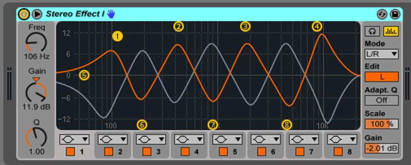 Live9のエフェクトを遊ぶ。19『Stereo Effect I』